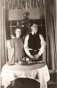 Newly married Al and Alice Waite, 1940, with their first tree.