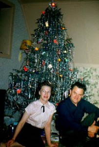 Al and Alice Waite's first Christmas in Anchorage, Alaska in a quonset hut, 1948.