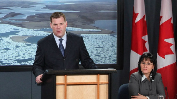 Canada's Foreign Affairs Minister John Baird and Environment Minister Leona Aglukkaq announced Canada's claim to the seabed under the UN Convention on the Law of the Sea today. (Patrick Doyle / The Canadian Press)