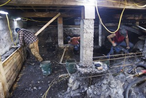 Human skeletal remains were discovered in part of the Cable House basement during construction in 2011. Photo by James Poulson/Daily Sitka Sentinel.