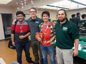 Johnny Khongsuk, Andrew Miller, Kei Kawada and Carlos Tayag after the championship. Kei took first place; Johnny took second. Photo by Annie Ropeik, KUCB - Unalaska.