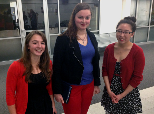 (From left) Allison Haynes, Margaret Clark, and Laura Gordon, all West High School Students, testified before the Anchorage School Board on Thursday night about the proposed 2014-15 budget. All opposed the cuts. Photo by Daysha Eaton, KSKA - Anchorage.