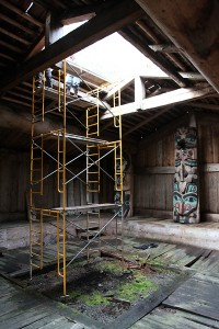 Scaffolding allows repairs to the Kasaan Whale House smokehole, which was damaged by rot. (Organized Village of Kasaan.)