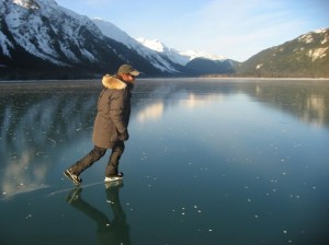 Paul Wheeler of Haines (brewer and owner of Haines Brewing Co., our town's microbrewery) skating on Chilkoot Lake. Wheeler is a longtime volunteer who maintains an outdoor skating rink in the old horse arena at the Southeast Alaska State Fair fairgrounds.