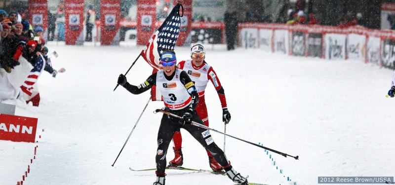 Kikkan Randall wins the sprint at the World Cup