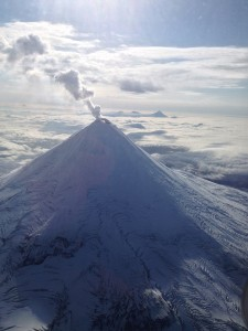 Shishaldin Volcano with a typical steam plume, pictured on Sept. 14, 2013. Photo by Joseph Korpiewski, U.S. Coast Guard.