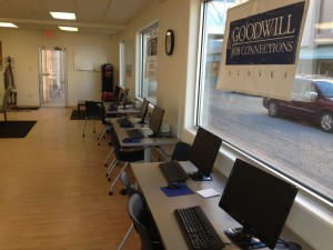 The Goodwill Job Connections Center is equipped with six computers for job searching.