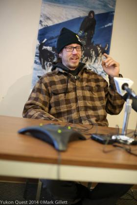 Brent Sass answers questions about his accident during a press conference in Whitehorse.Credit Mark Gillet / Yukon Quest