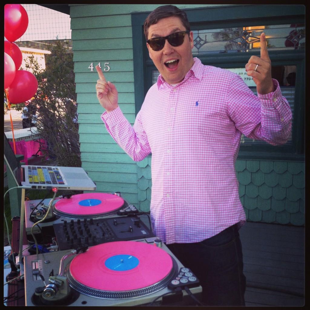 DJ Spencer Lee (aka Spencer Shroyer) rocking the Valentine's Day color palette.