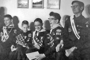 Eagle Scouts from left: Don Whitsoe, Mike Gordon, Jack Griffith, John Tegstrom, Elmer Castle, 1956.