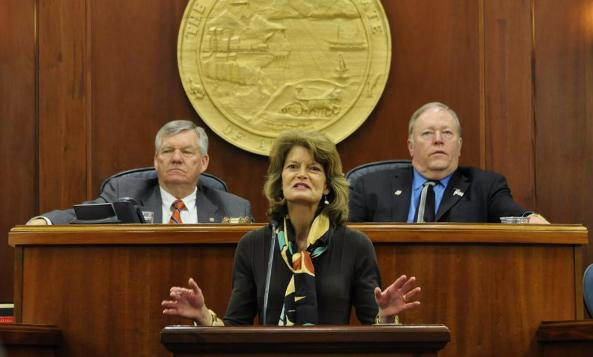 Murkowski addresses the Alaska State Legislature on Wednesday, February 19, 2014. (Skip Gray/360North)