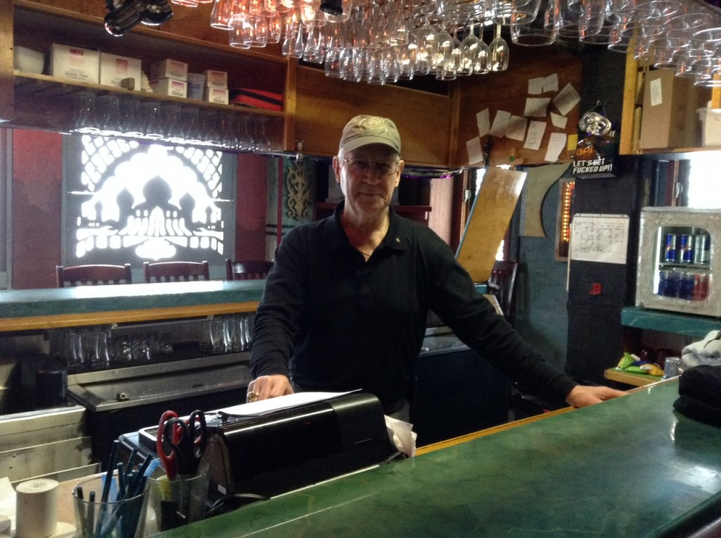 Mike Gordon, behind the bar at Chilkoot Charlie's.
