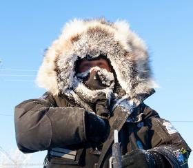 Not only is he the Kiwi Musher, but Curt Perano may also be the frostiest musher on this year's Yukon Quest trail. Credit Julian Schroder / Yukon Quest