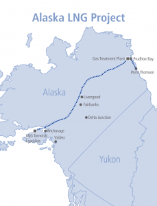 The proposed pipeline route for the Alaska LNG Project, a consortium of oil companies (Image courtesy of the Alaska LNG Project).