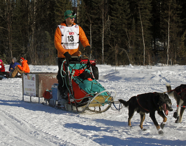 Kelly Maixner at the 2014 Iditarod restart in Willow. Photo by Josh Edge, APRN - Anchorage.