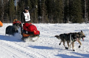 Jeff King waves to fans as he leaves Willow at the beginning of the 42nd Iditarod. Photo by Josh Edge, APRN - Anchorage.