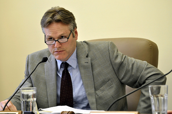 Sen. Mike Dunleavy, chairman of the Senate Labor and Commerce committee, listens during a committee meeting, Feb. 18, 2014. (Photo by Skip Gray/Gavel Alaska)