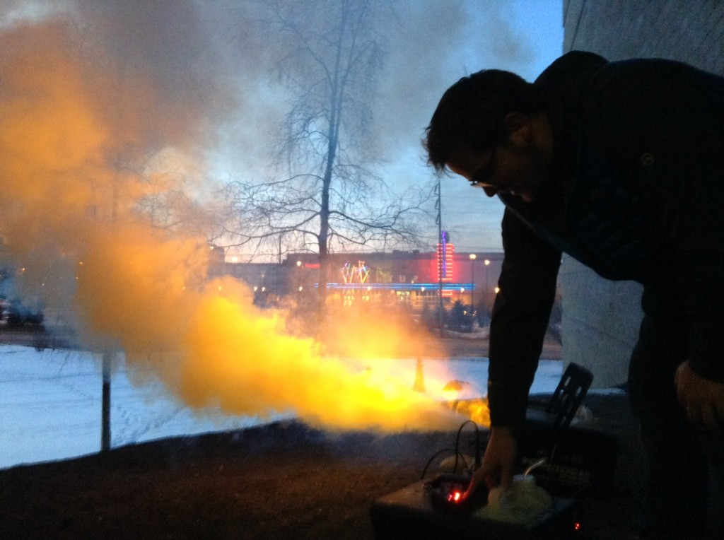 Ryan Marlow testing fog machine.