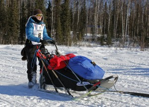 Yvonne Dabakk leaves Willow at the 2014 Iditarod restart. Photo by Josh Edge, APRN - Anchorage.