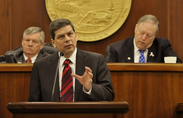 Sen. Mark Begich addresses the Alaska State Legislature on Monday, March 3, 2014. (Skip Gray/ Gavel Alaska)