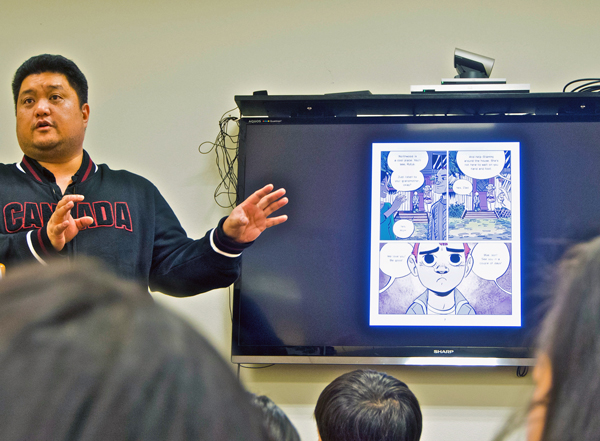 J. Torres speaking in Unalaska on March 3. Photo by Luc Sevilla.