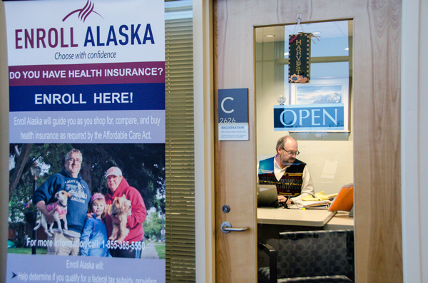 Enroll Alaska Chief Operating Officer Tyann Boling says her staff have been working 12 hour days to accommodate people trying to enroll. They will be working through the weekend to help people get signed up. (Photo by Heather Bryant/KTOO)