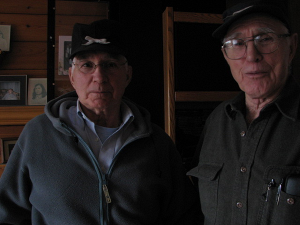 Bob Allen (right) was on a fishing boat south of Kodak Island during Alaska's 1964 earthquake. While Allen's brother Jack (left) was a State Trooper in Anchorage. (KCAW photo/Emily Forman)
