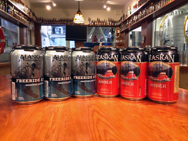 Juneau-based Alaskan Brewing Co. is now selling its flagship Amber Ale and its Freeride American Pale Ale in 12 ounce cans. Initially they'll be available only in Alaska. (Photo by Casey Kelly, KTOO - Juneau)