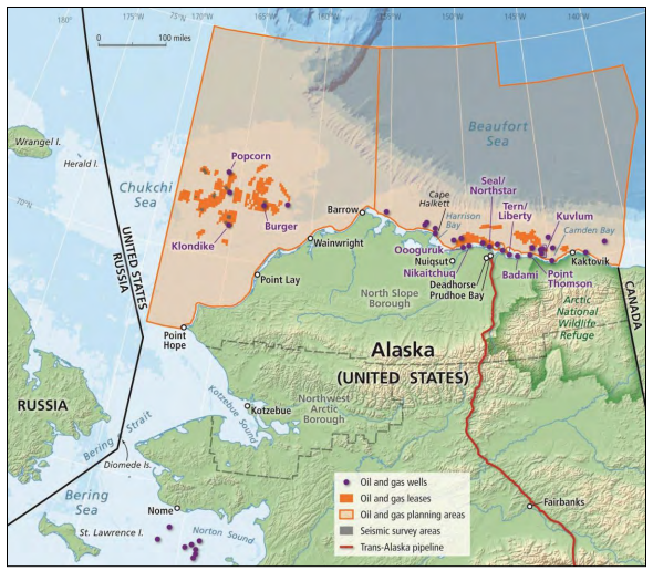 Oil and gas planning areas in the Chukchi and Beaufort Seas. Oil and gas lease areas are shown in  orange, with seismic survey areas shown in gray. Selected oil and gas wells, some in Alaskan state waters and some  in federal waters, are shown as purple dots. Some coastal communities and cities are also shown.  (Image from the National Research Council)