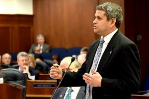 Rep. Chris Tuck addresses a joint session of the Alaska Legislature during debate about confirmations of the governor's appointees, April 17, 2014. (Photo by Skip Gray/Gavel Alaska)