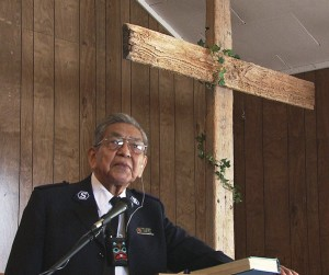 Cyril George Sr. in 2007, speaking at Angoon Presbyterian Church, where his son Joey George is pastor. (Photo by Skip Gray/KTOO)