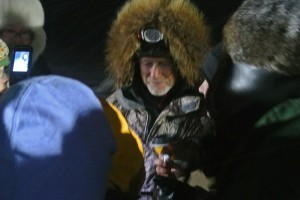 Jeff King arrives at the finish line of the Kobuk 400. (Kobuk 440 Photo)