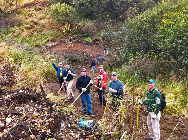 Volunteers hand craft Kincaid singletrack. (Photo by Janice Tower/Singletrack Advocates.)