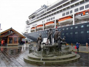 The Volendam cruise ship docked in Ketchikan Monday. (KRBD photo)