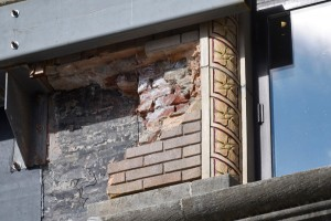 Detail of brick façade exposed during renovation of Alaska's Capitol, April 3, 2014. (Photo by Skip Gray/Gavel Alaska)