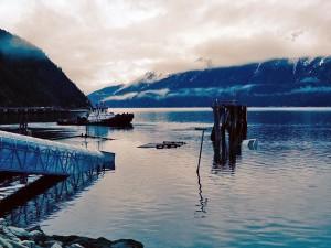 The AMHS dock in Skagway sank overnight. (Photo courtesy Alaska Department of Transportation and Public Facilities)