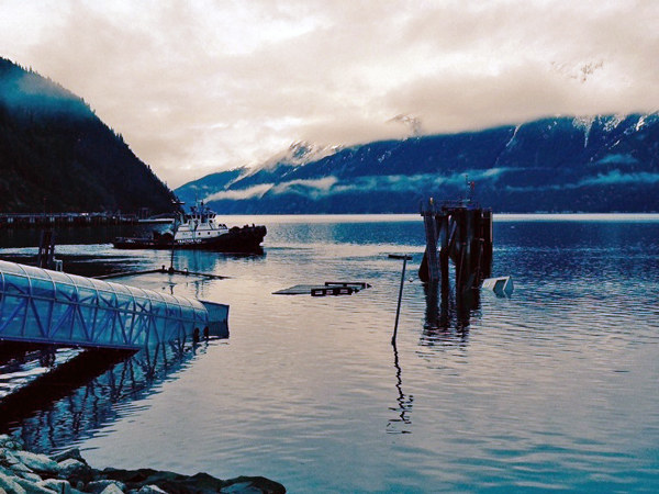 The AMHS dock in Skagway sank overnight. (Photo courtesy Alaska Department of Transportation and Public Facilities)