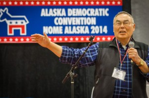 Former Unalakleet representative Chuck Degnan addressed the crowd at the Alaska Democrat's convention in Nome. Photo: Matthew F. Smith, KNOM.