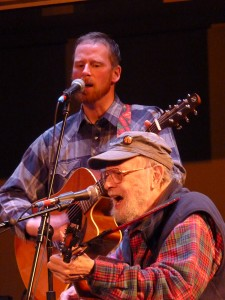 Pat Henry, right, plays with son Hiram Henry at the 2014 Alaska Folk Festival. (Photo by Ed Schoenfeld, CoastAlaska - Juneau)