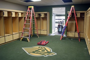 Team locker rooms are nearing completion. (Photo by Josh Edge, APRN - Anchorage)