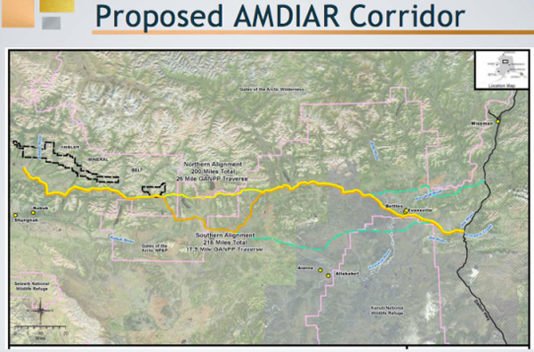 Two potential routes for the the prosed Ambler Mining District Industrial Access Road, (Photo by AIDEA)