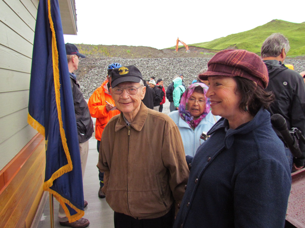 Carl Moses at the dedication of Unalaska's small boat harbor, named for him about two years ago. (Photo courtesy of the City of Unalaska)