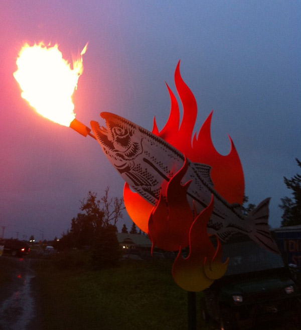 Fire-breathing salmon designed by Ray Troll and owned by Hans Vogel.
