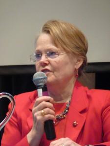 Wrangell Rep. Peggy Wilson addresses the Southeast Conference in 2011. She's retiring after seven legislative terms. (CoastAlaska News)