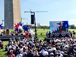 David Rubenstein on the Jumbotron at the Washington Monument Monday. (Liz Ruskin)