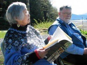 Nora and Dick Dauenhauer wrote Russians in Tlingit America. The book is used to train Sitka's park rangers. (KCAW photo/by Emily Forman)