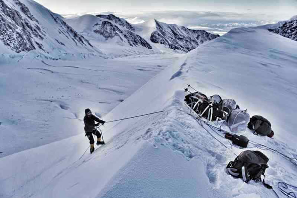 Sylvia Montag approaches Karsten's Ridge on Denali. (Photo via fox-challenge.de)