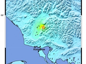 Map of the May 3, 2014 quake located 52 miles north of Kotzebue. (Image courtesy of the Alaska Earthquake Information Center.)