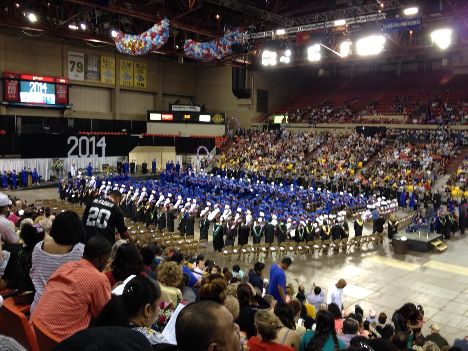 Students wait to receive their diplomas at Sullivan Arena (Photo by Anne Hillman, Alaska Public Media - Anchorage)