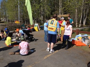 Volunteers enjoy lunch after cleaning up Davis Park